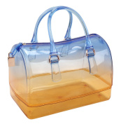 Women Transparent Charming Gradient Coloured Jelly Top Handle Bag Tote 3#