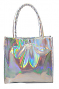 Women Mini Fashion Hologram Laser Handbags Shoulder Bags Tote Purse with Chain Silver