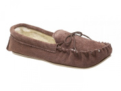 Mokkers SHERIDAN Boys Suede Leather Warm Lined Moccasin Slippers Dark Taupe
