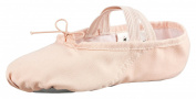 Canvas ballet slippers, full leather sole, white and pink-apricot