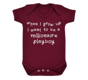 When I Grow Up I Want To Be A Millionaire Playboy Design Baby Bodysuit Maroon with White Print