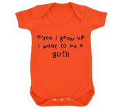 When I Grow Up I Want To Be A Goth Design Baby Bodysuit Orange with Black Print