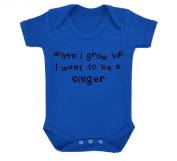 When I Grow Up I Want To Be A Singer Design Baby Bodysuit Royal Blue with Black Print