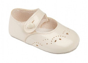 Baby Girls Baypods First Pram Shoes -Button Fastening with Hole & Petal Punch Detail