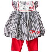 6-12 months - Baby Girls Dress Outfit - Gorgeous Blue & White Striped Love Summer Bubble Dress and Red Short Leggings Set / Babies Clothes
