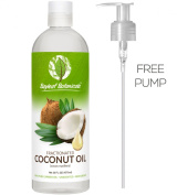 Best Fractionated Coconut Oil (Liquid) 470ml - BONUS PUMP - 100% Pure Therapeutic Grade Carrier Oil - Perfect for Blending with Essential Oils, Aromatherapy, Sensual Massages - Ultimate Natural Moisturiser for Radiant Hair, Skin & Face - Love It Guaran ..