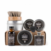 Ultimate Beard Care Kit - Temperance Beard Oil | Bottle, Flask with Classic Balm | Moustache Wax Set | Beard Oil Brush