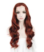 IMSTYLE® Reddish Colour Party Queens Cosplay Wig Long Body Wave Texture Synthetic Lace Front Wig Celebrity Party