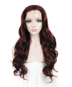 IMSTYLE®Lovely Long Wave High Density Reddish Auburn Coloured Synthetic Lace Front Wig