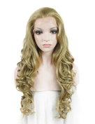 IMSTYLE®2015 Charming Long Body Wavy Ash Blonde Colour Synthetic Lace Front Wig