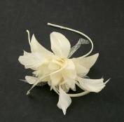 Ivory cream and off white silk flower and feather hair fascinator mounted on a band
