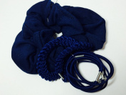 10 Pack Of Navy School Scrunchie and Elastics Set