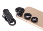 Unho Universal Clip 3 in 1 Phone Kit Lens 180 Degree Wide Angle+ Micro+ Fish Eye Lens for iPhone 6/6 Plus/5/5C/5S/4S/4/3,for iPad Air/iPad mini/iPad/4/3/2,for for Samsung Galaxy S6/S6 Edge/S5/S4/S3 /S2/Note 4/3/2/Sony Xperia Z/ HTC ONE Smart Phones with F