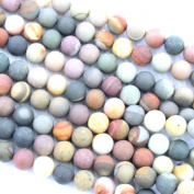 Natural Unpolished Frosted Polychrome Jasper Round Gemstone Jewellery Making Loose Beads