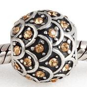 Hoobeads 925 Sterling Silver Sparkling Leaves Charms with Austrian Crystal Beads Fits Pandora Charms Bracelet