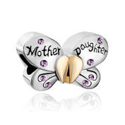 Hoobeads 925 Sterling Silver Mother Daughter Charms Separable Butterfly Bead Fits Pandora Charms Bracelet