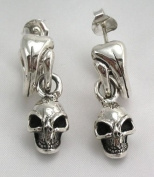 Skull Solid 925 Sterling Silver Men's Dangle Earrings New