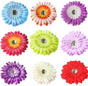 MSHUI Crystal Gerbera Daisy Flower Hair Clip Crochet Headband Hat Accessories