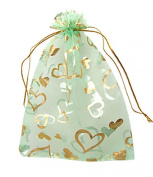 KINGWEDDING 25pcs Heart Green Organza Drawstring Pouches Jewellery Party Wedding Favour Gift Bags 7X9cm