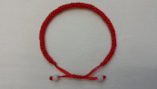 Good Luck Handmade Red String Bracelet with Two White Beads