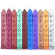 Yoption 10 Pcs Flowers Manuscript Sealing Seal Wax Multicolor Sticks Sealing Wax For Postage Letter Retro Vintage Wax Seal Stamps
