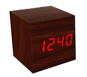 KABB Brown Wooden Design Red Light Decorative Desktop Alarm Clock with Time and Temperature Display - Sound Control - Latest Generation