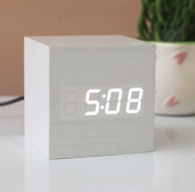 KABB White Wooden Design White Light Decorative Desktop Alarm Clock with Time and Temperature Display - Sound Control - Latest Generation