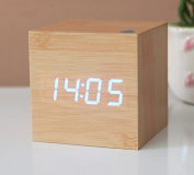 KABB Light Brown Wooden Design Blue Light Decorative Desktop Alarm Clock with Time and Temperature Display - Sound Control - Latest Generation
