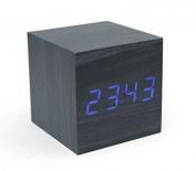 KABB Black Wooden Design Blue Light Decorative Desktop Alarm Clock with Time and Temperature Display - Sound Control - Latest Generation