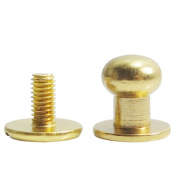 "Bluemoona 50 Sets - Head Button 7mm 0.27"" Brass Stud Screwback Screw Back Spots for Leather Rivet Gold"