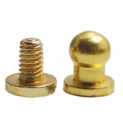"Bluemoona 50 Sets - Head Button 4mm 0.15"" Brass Stud Screwback Screw Back Spots for Leather Rivet"