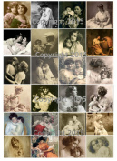 Mother and Child Art Image Tiles Collage Sheet. Mother's Day 102
