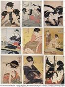 Vintage Japanese Woodcut Print Images Collage Sheet 101 by Kitagawa Utamaro