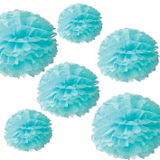 CheckMineOut 12Pcs Mixed 3Sizes Blue Tissue Paper Pom Poms Decorative Flowers Wedding Centrepieces Baby Bridal Shower Party Decoration Nursery Room Hanging Favours