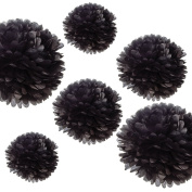 CheckMineOut 12Pcs Mixed 3Sizes Black Tissue Paper Pom Poms Decorative Flowers Wedding Centrepieces Birthday Bridal Shower Party Decoration Nursery Room Hanging Favours