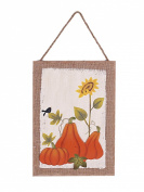 YK Decor Wood/Linen Autumn Plaque