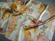 Maxfeel 100% Pure Mulberry Silk Charmuse Floral Fabric 45 Wide for Bedding Dress By the Yard or By Half Yard