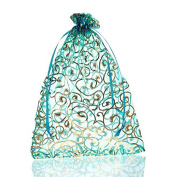 50pcs 17cmx23cm Skyblue Flower Organza Gift Bags Pouches Bags & pouches Wedding Christmas Favour
