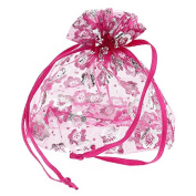 100pcs Organza Gift Bags Jewellery Pouches Wedding Favour Silvery Fuchsia 2015 New
