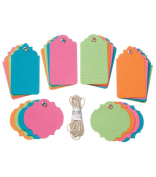 Bright Assorted Tags Etiquettes Assortment by Core'dinations for Gift Tags, Scrapbooks, Set of 24 Tags