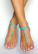 Blue Bride Ankle Bracelet Crochet Anklets for Women Barefoot Sandals Beach Wedding Foot Jewellery Anklet - Something Blue