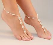 Vintage Pearls Bride Ankle Bracelet Crochet Anklets for Women Barefoot Sandals Beach Wedding Foot Jewellery Anklet