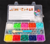 O-Best 2000pcs Loom Band Kit - Loom Bands Bracelet Kit - 10 Bright Colours(200pcs for each colour) + 50 S-Clip + 1 Hook + 1 Loom Board + 10 Charms Plus Case