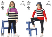 King Cole Comfort Chunky Knitting Pattern Girls Long Sleeved Striped Jumper 3992