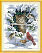 Benway Counted Cross Stitch Cat And Birds In Snow 14 Count 32x39cm