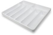TrippNT 50057 White Polystyrene Plastic Big Drawer Organiser, 8 Compartments, 48cm Width x 6.1cm Height x 44cm Depth