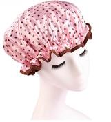 Huachnet Waterproof Double Layers Women's Shower Caps -Pink Dot