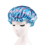 Huachnet Waterproof Double Layers Women's Shower Caps - Blue Butterfly