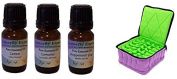 Essential Oils By Butterfly Express Essential Oils Introductory Set with 10 Ml Lemon Essential Oil, 10 Ml Lavender Essential Oil, and 10 Ml Peppermint Essential Oil and Essential Oil Carrying Case Lavender-green Bundle