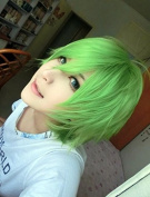 Weeck Anime Short Naruto Party Green Cosplay Wig